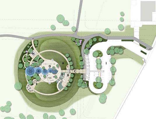 A: Earthen Mound, B: Bridge, C: Tunnel, D: Play Area, E: Slides, F: Amphitheater, G: Sensory Garden, H: Restroom, I: Parking