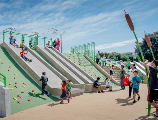 The slide area with a range of access methods allowing access for all physical abilities.