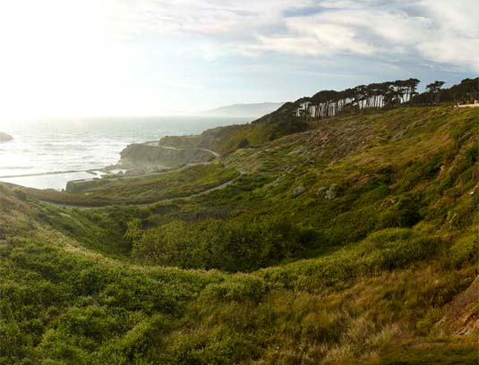 Nestled into the bluff, the lookout serves as a trailhead for visitors to Lands End.