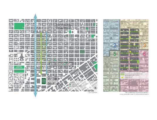 Lower Polk is uniquely positioned as a convergence point between diverse neighborhoods and four Supervisional Districts. The neighborhood has conspicuously few public open spaces, exacerbated by the access barriers such as the 101, the topography, and the physical distances to public parks.