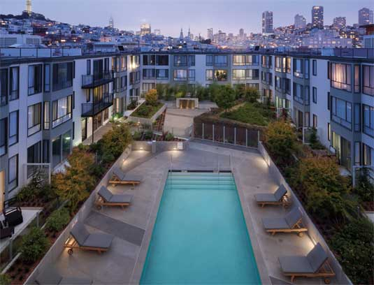 View of courtyard from the roof with the San Francisco skyline backdrop.