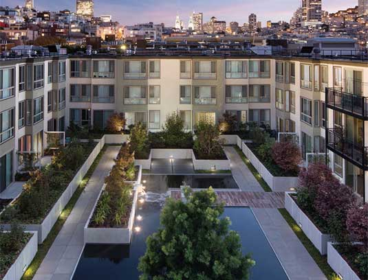 View of courtyard B from the roof with San Francisco backdrop.