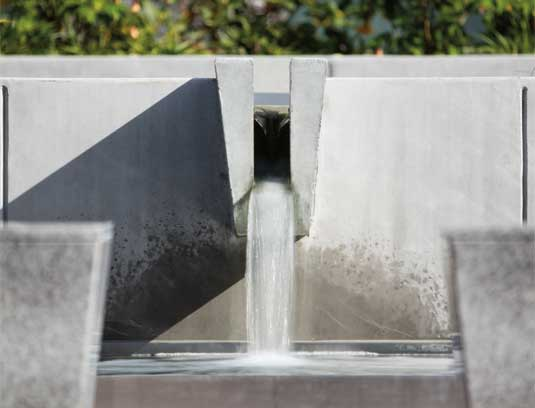Courtyard B water feature spillway, based on original feature design by Lawrence Halprin/s Studio.