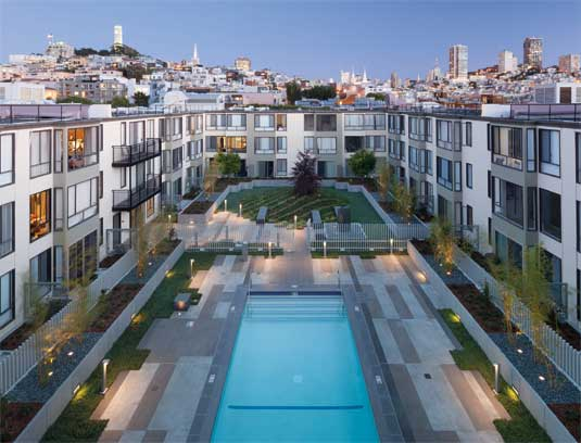 View of courtyard C from the roof with San Francisco skyline backdrop.