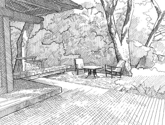 Hand-sketch of the multi-level deck that wraps around the Tea House, custom wood bench and Japanese-style metal handrail.