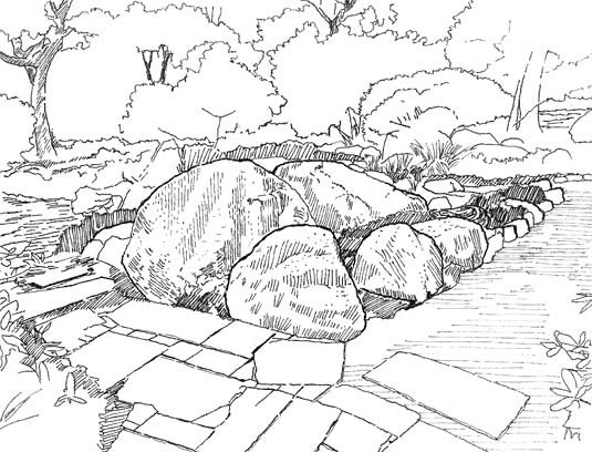 Hand-sketch of two garden paths crossing at grouped boulders.