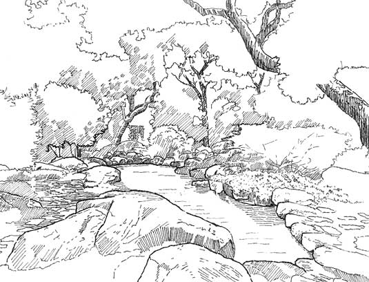 Hand-sketch of the pool and surrounding boulders as seen from the Tea House.