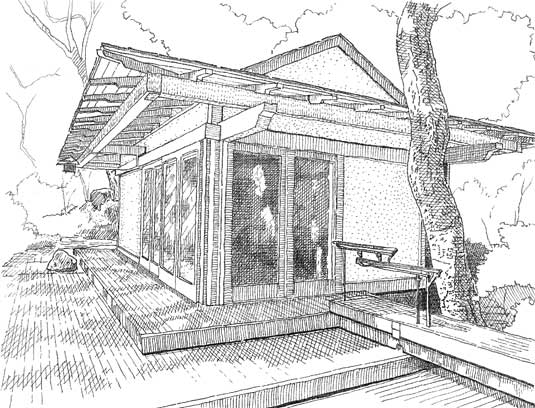 Hand-sketch of the Japanese-style Tea House designed by Isabelle Greene in conjunction with Andy Neumann, a local architect.