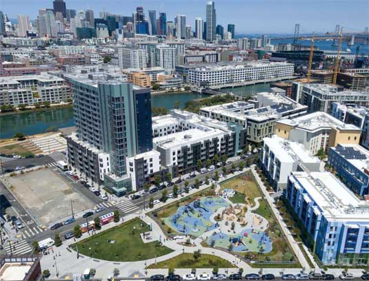 Aerial view of the park nestled within the growing Mission Bay neighborhood in San Francisco.