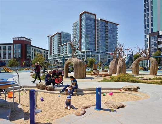 Sand play and willow structures provide multiple recreational opportunities for children of all ages.