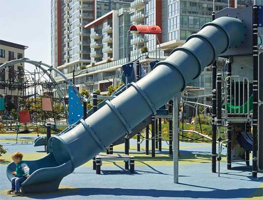 A variety of play structures allow children of all ages to slide, climb and swing.
