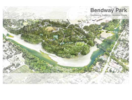 Bendway Park is a proposal for the revitalization of over 100 acres of inaccessible industrial zoned riverfront in Healdsburg that will revive ecology, strenghten thelocal economy and relink the communith with their river.
