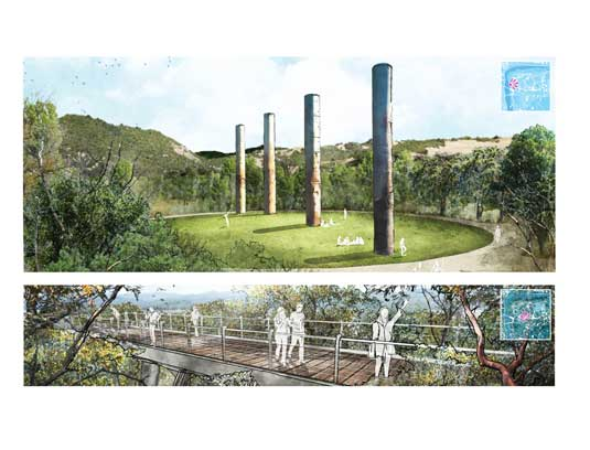 The Bendway Towers have become the symbol of the park and provide a visual link to the town. Overhead conveyors have been repurposed as tree walks immersing visitors into a California woodland with panoramic views of the site and beyond.