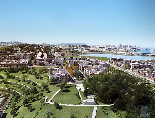 Hillpoint Park is the first major open space in the transformation of the 500-acre Hunters Point Shipyard into a new mixed used neighborhood.
