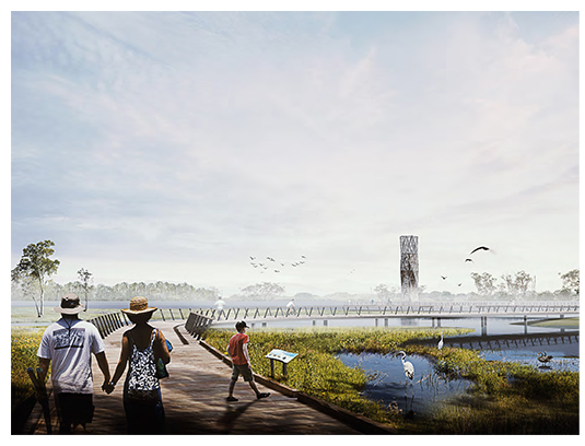 An iconic observation tower set in a wetland garden is proposed at the interface between the Miaojing River and Kuilei Lake, providing both an educational anchor and landmark for the park.
