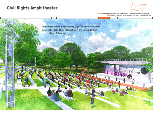 Next, the visitor reaches the amphitheater, which will serve as a concert venue and gathering space, as well as a place to commemorate Truman's contribution to advancing civil rights in this country.