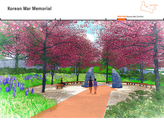 Upon arriving in a grove of Korean dogwoods, a strong axis ties the civil rights amphitheater to the Korean War Memorial. This axis splits the boulder, representing the division along the 38th parallel between North and South Korea.
