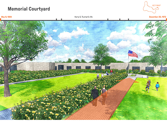 Concluding the walk, the redesigned courtyard creates a place of peace and reflection where the burial monuments of Harry and his family are set within in a simple field of yellow roses, chosen to honor his wife Bess' fondness of the flower.