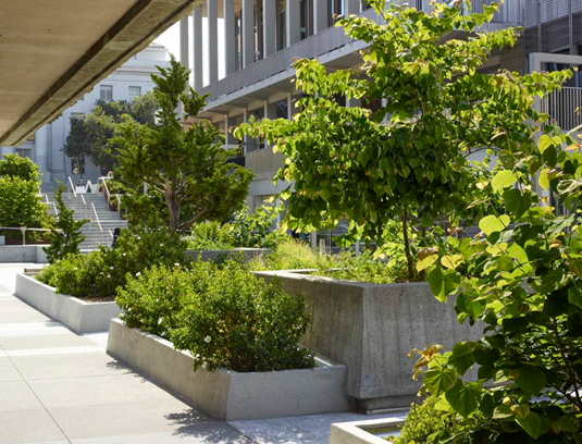 Incorporation and expansion of historic Halprin planters notes material history of the plaza.