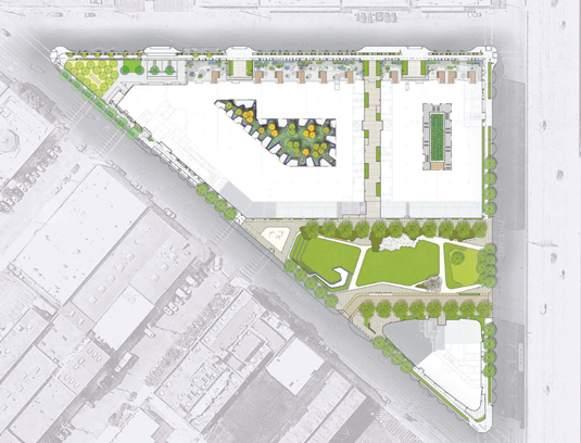 A one acre public park is part of a mixed-use residential development. Additional open space includes a public mid-block passageway, two podium level interior courtyards, succulent garden roof patios, streetscapes, and a one-way shared public way.