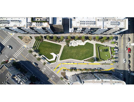 Three sculptural elements define the park and double as play and sitting areas: Tilted Lawn, Pentastep, and Dog Park Enclosure.