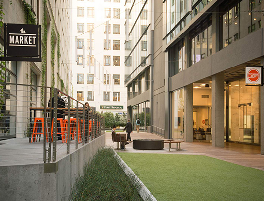 Transformation of an existing sevice alley that serves as both building plaza and urban corridor, where rich materiality and a variety of experiences invite gathering and passage alike.