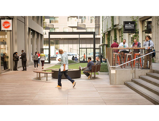 The pedestrian alley is designed as an unfolding sequence of experiences: paths, plazas and walkways are defined in refined concrete paving and wood decks.