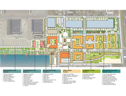 The Site A Master Plan creates a 68 acre transit-oriented, walkable, sustainable, and vibrant new coastal community that fosters new housing and jobs, artisan and maker retail, and office space with 15 acres of open space.
