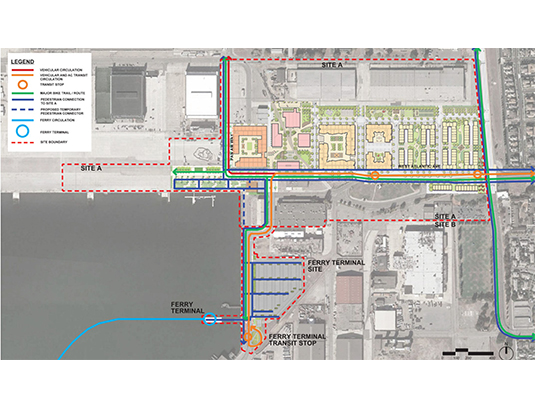 The multi-modal circulation map of Site A extends to the proposed Ferry Terminal located in Site B. Connectivity and the robust TDM plan were crucial components for the new developments approval process and multi agency jurisdictions.