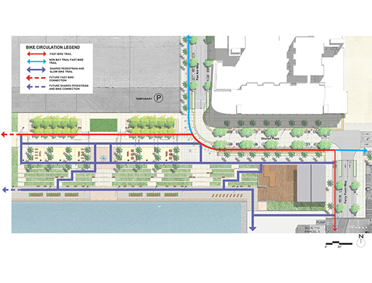 Many programs and exhibits were prepared for various agency presentations and planning reports. The diagram communicates the main bike trail circulation connections through the waterfront park and shared plaza.