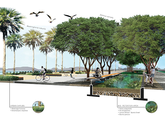 The landscape architect spearheaded the green infrastructure network throughout the site. Stormwater management through bioretention and permeability was integrated into the cultural landscape design inviting the public to enjoy nature in the city and wildlife to the site.