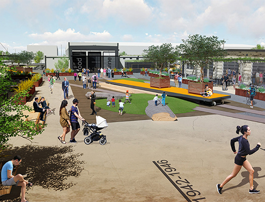 """Adaptive reuse plays a major role in the 3 acre urban core park known as the """"Block 10."""" This maker oriented retail marketplace focuses on food, artisans, and play to provide a community space for the neighborhood that celebrates past and future."""