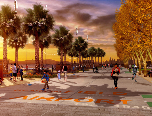 The Taxiway Trail at sunset dramatizes a rich public commons where history, wind, coastline, views, and people occupy this new dynamic and resilient public realm.