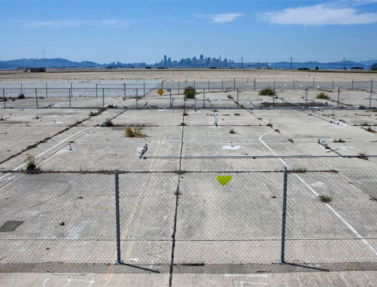 The project is a brownfield and superfund cleanup site. The historic runways and taxiways offer unfettered views of San Francisco and the Bay. It is also the protected nesting site of the endangered Least Tern.