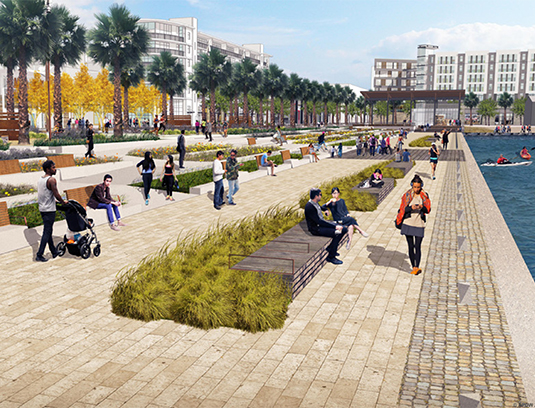The promenade of the waterfront park, the main focus of the public realm, engages the historic seaplane lagoon. The park combines recreation, scenic views, native plants and salvaged materials and artifacts into a vibrant public commons at waters edge.