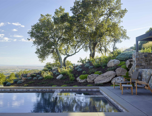 The pool captures the reflection of existing oaks and boulders in the foreground, with views of Marin and San Francisco beyond.