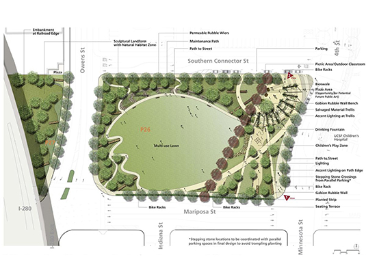 Site plan showing the organization of the park to satisfy a wide spectrum of program elements – active gathering plaza, children's play area and sensory garden at the east end, multiuse lawn in the center and habitat on the northwest.