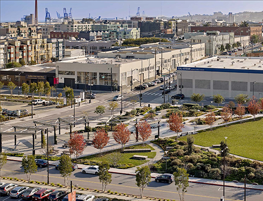 The park design was heavily influenced by its context of San Francisco's historic Central Waterfront and adjacent Dogpatch neighborhood with its gritty industrial character, iconic gantry cranes and historic warehouses.