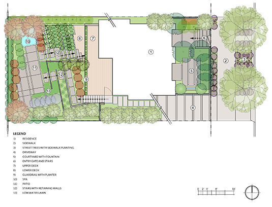 Site Plan. The master plan for the front and back gardens.