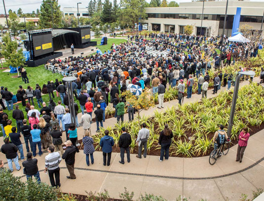 Intuit now has a place where employees can gather together as one. The Village Green is used for a variety of events from corporate presentations to barbeques.