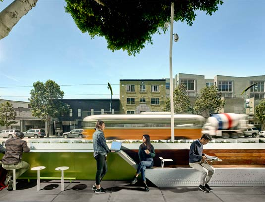 From the sidewalk, the Flashlight presents an unexpected offering of comfortable seating, social spaces, and experiences for individuals and groups.