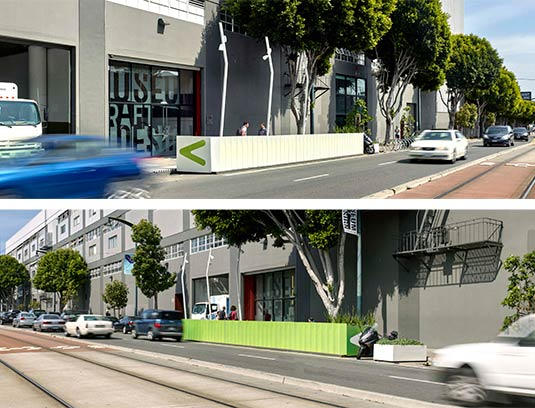 As viewers from the street pass by the wall apparently changes color instantly. From the street light mast, a ficus tree and iridescent color composed in what should be parking strip leap to the onlooker's attention.