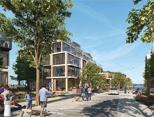 The mixed-use project creates a complete community that is human in scale, with all basic services and amenities located within short walking distanc