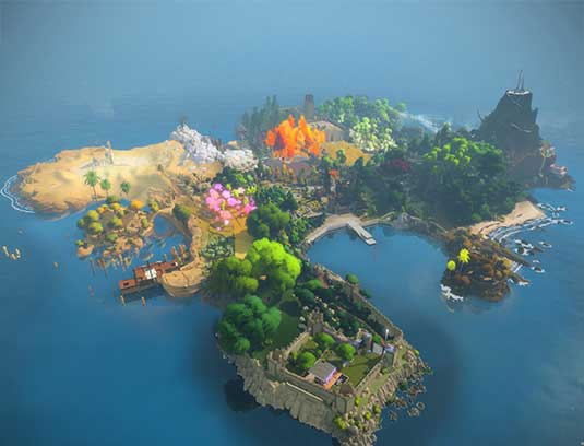 AERIAL VIEW OF THE ISLAND You wake up in a dark circular cave and walk up to a door. With a series of simple gestures, you solve a puzzle and gain access to the Witness Island. Your avatar is now free to explore the island, in an open world environment.