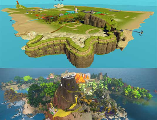 ISLAND BEFORE AND AFTER You wake up in a dark circular cave and walk up to a door. With a series of simple gestures, you solve a puzzle and gain access to the Witness Island. Your avatar is now free to explore the island, in an open world environment.