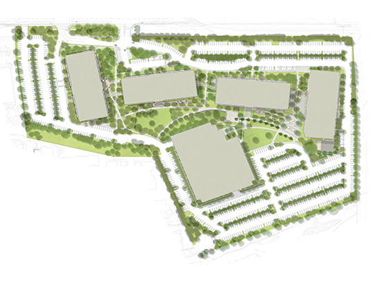 Netflix Albright Campus: 21 acre master plan incorporates four, 4&5 story office buildings into heavily vegetated site. Objectives include development of campus identity around  preservation of significant mature vegetation, multi-function outdoor spaces and expanded open space thru connections  to adjacent creek side trail.